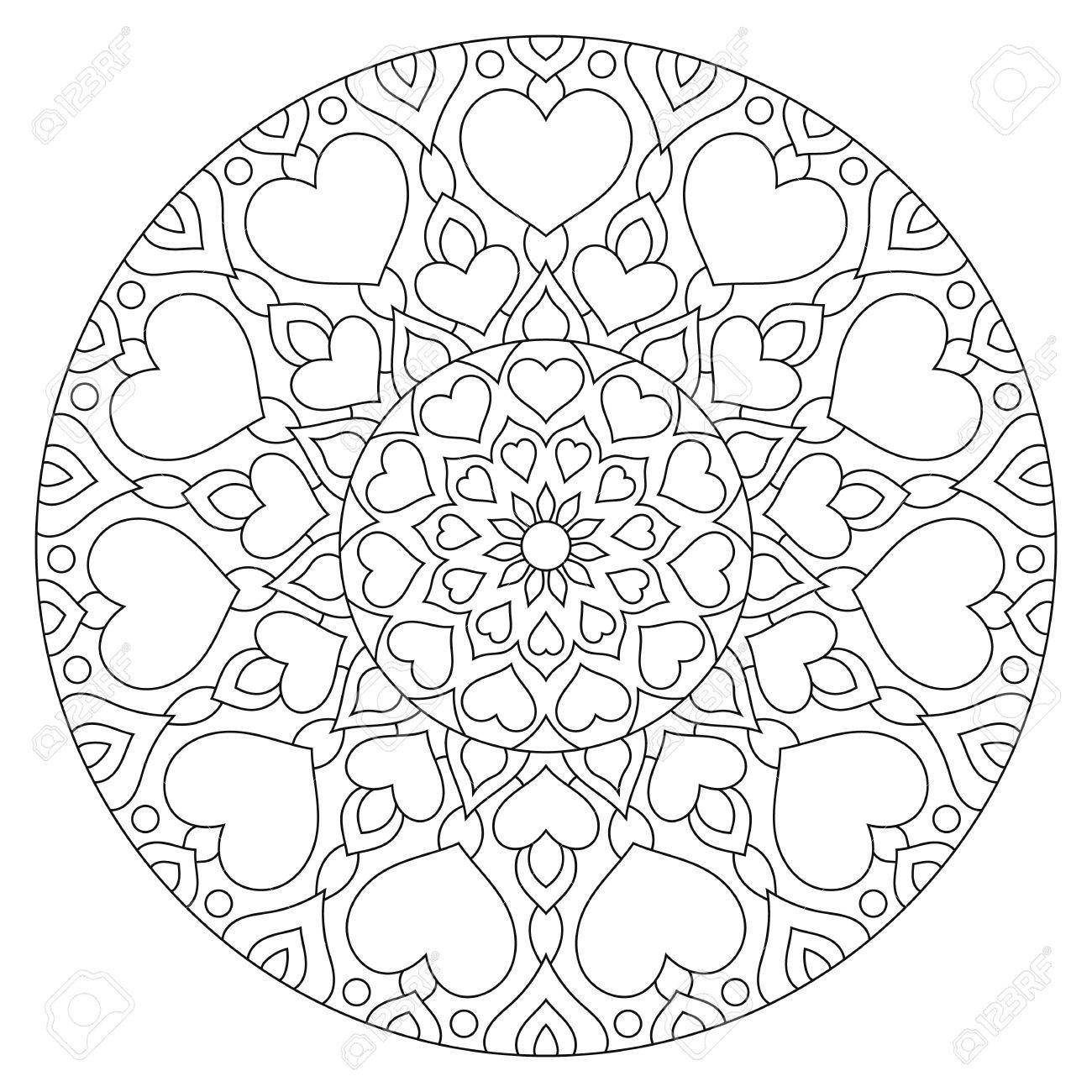 Flower Mandala With Hearts Coloring Page For Valentines Day Stock Photo