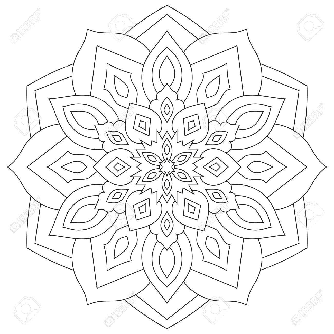 Floral Mandala Mit Blättern Und Herzen Auf Einem Weißen Hintergrund ...