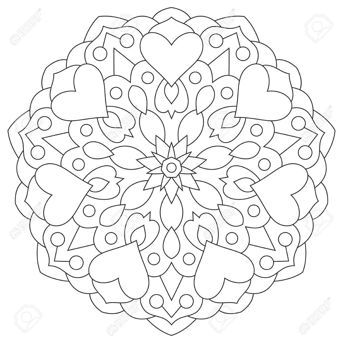 Blumen-Mandala Mit Herzen. Malvorlage Für Valentinstag. Lizenzfrei ...
