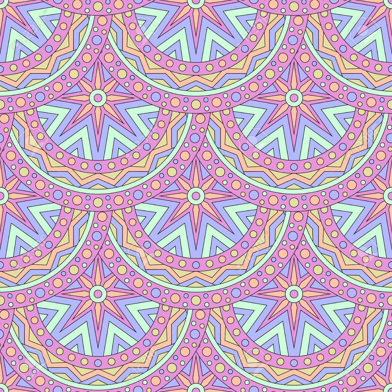 Patrón Sin Fisuras Con Mandalas De Colores Brasileño Indio Turco