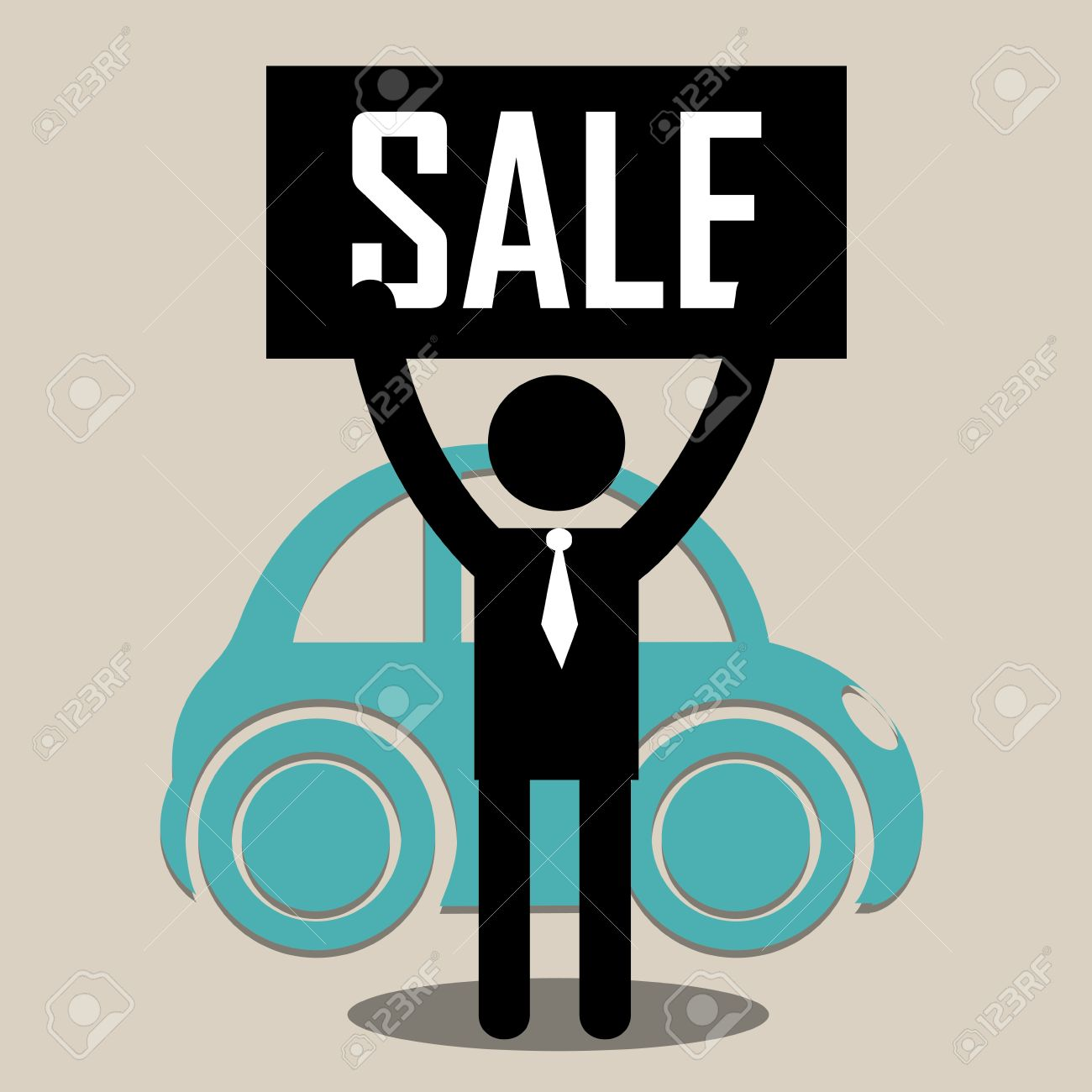 Seller With Sale Cartel Trying To Sell A Classic Car Royalty Free ...