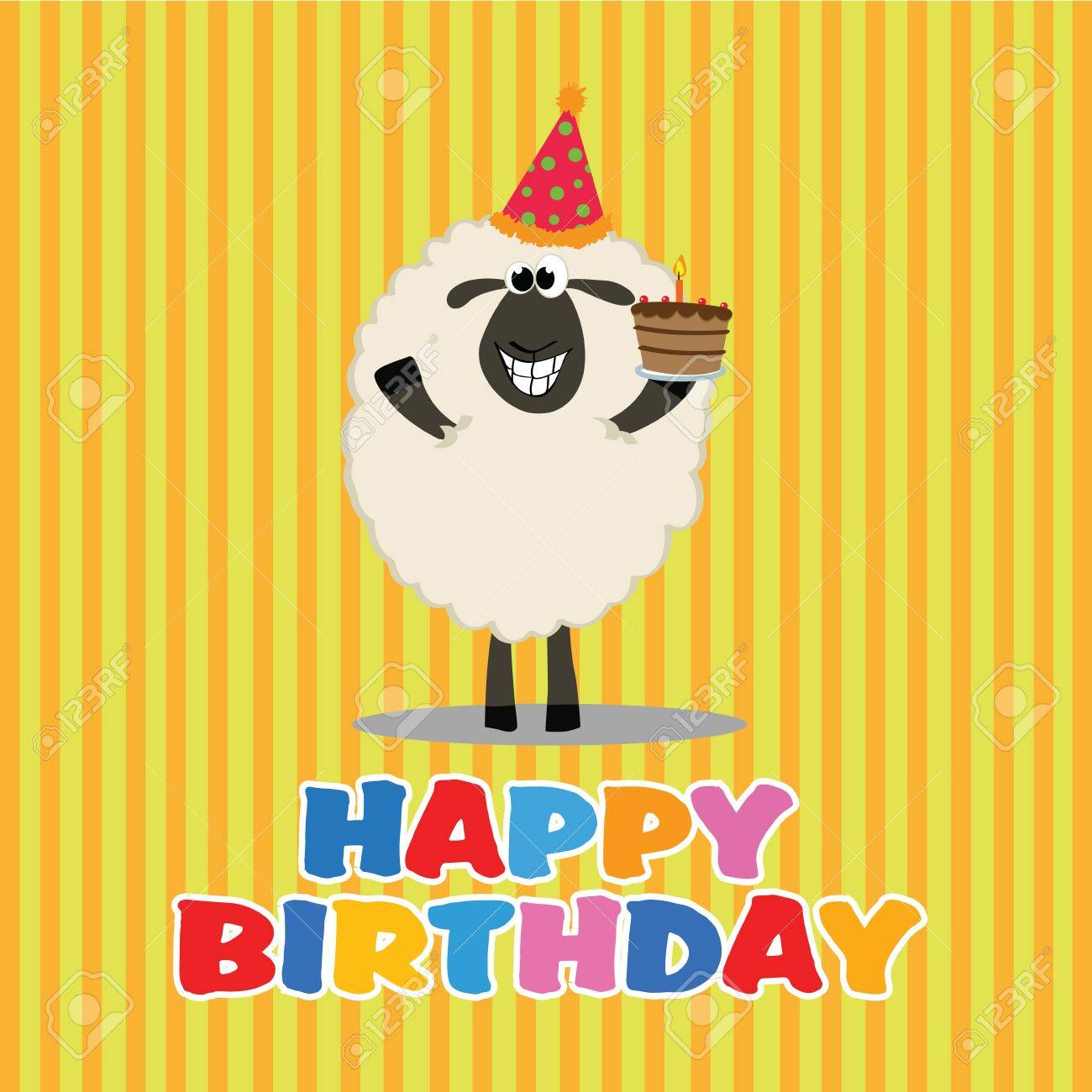 Sheep With A Cake Celebrating A Happy Birthday Party Royalty Free