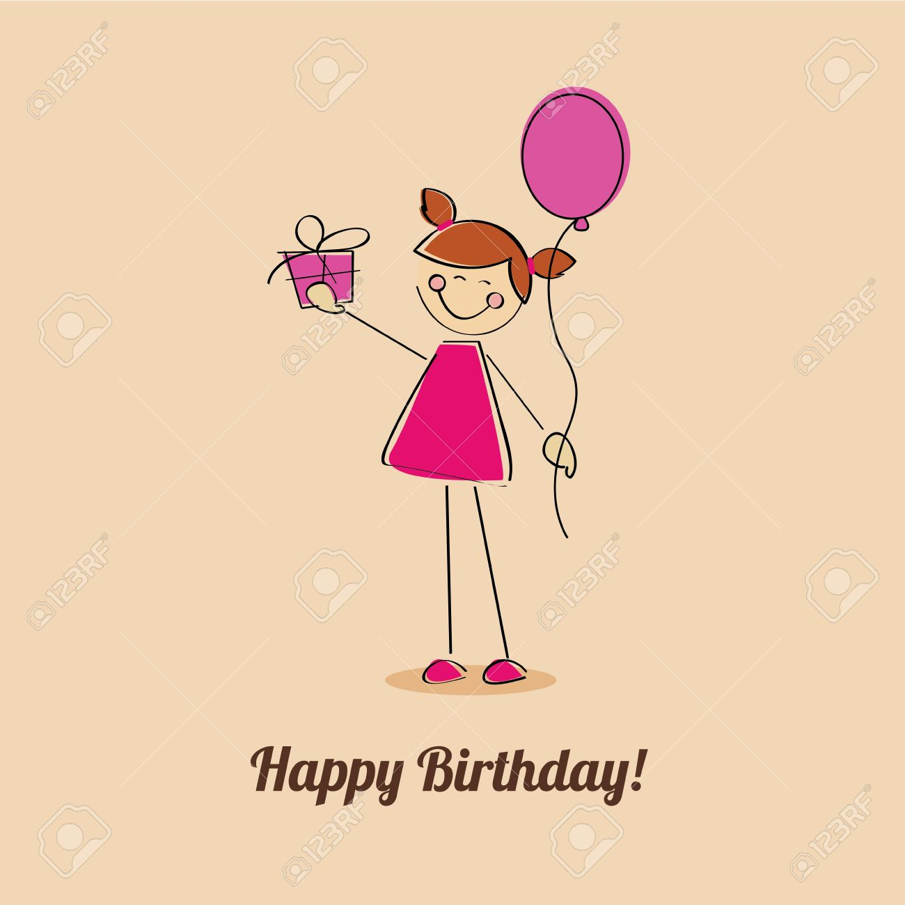 happy birthday girl with a present on light brown background