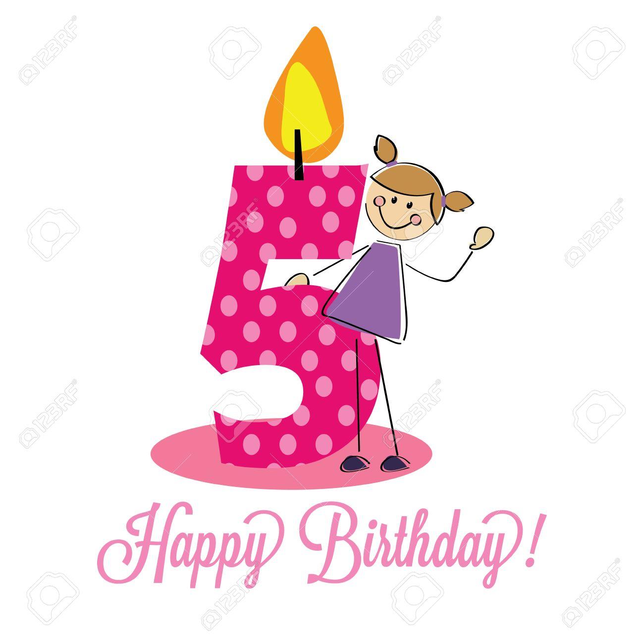 Carte De Joyeux Anniversaire De 5 Ans Celebration Clip Art Libres De Droits Vecteurs Et Illustration Image 20722356