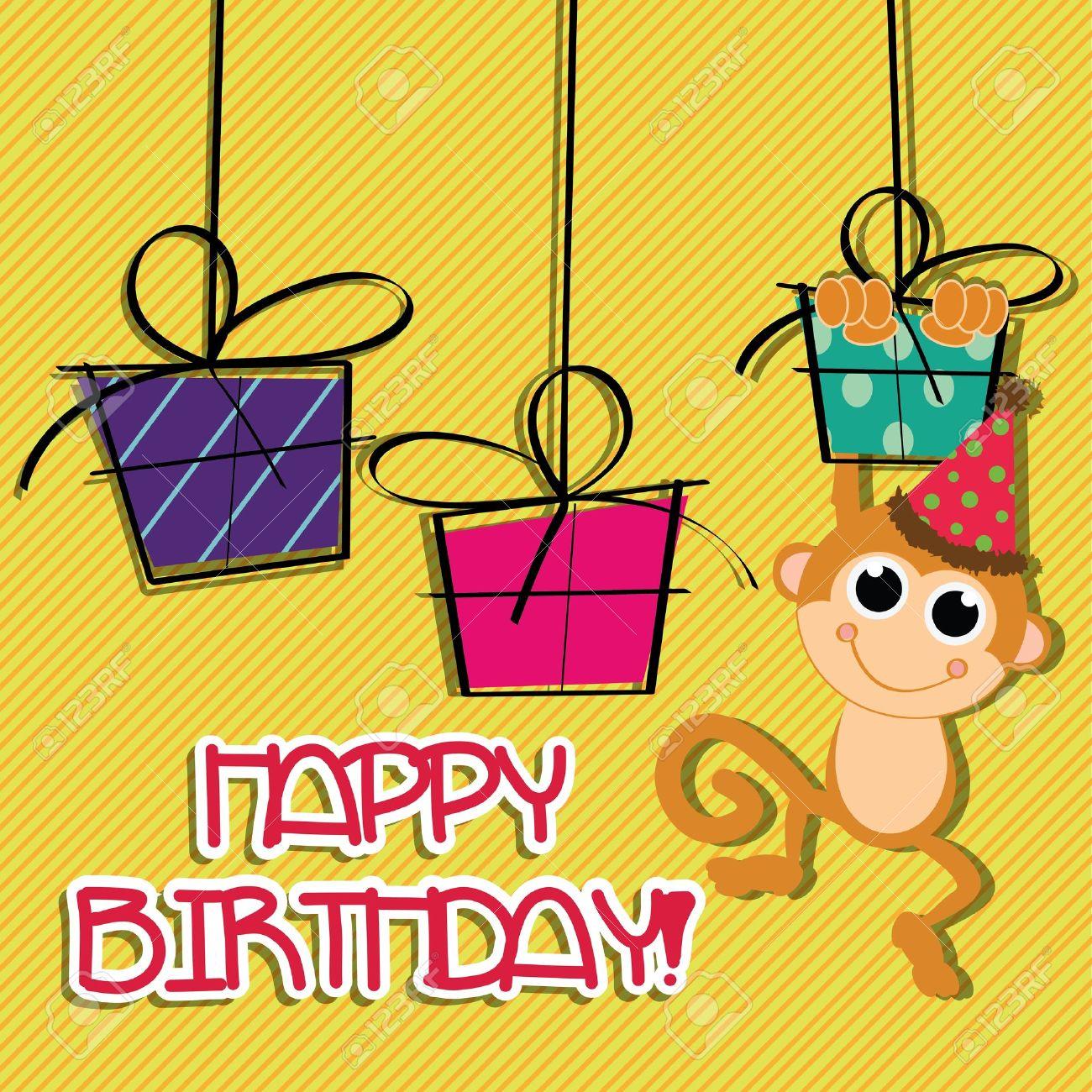 Showing post media for Cartoon happy birthday monkey – Monkey Birthday Card