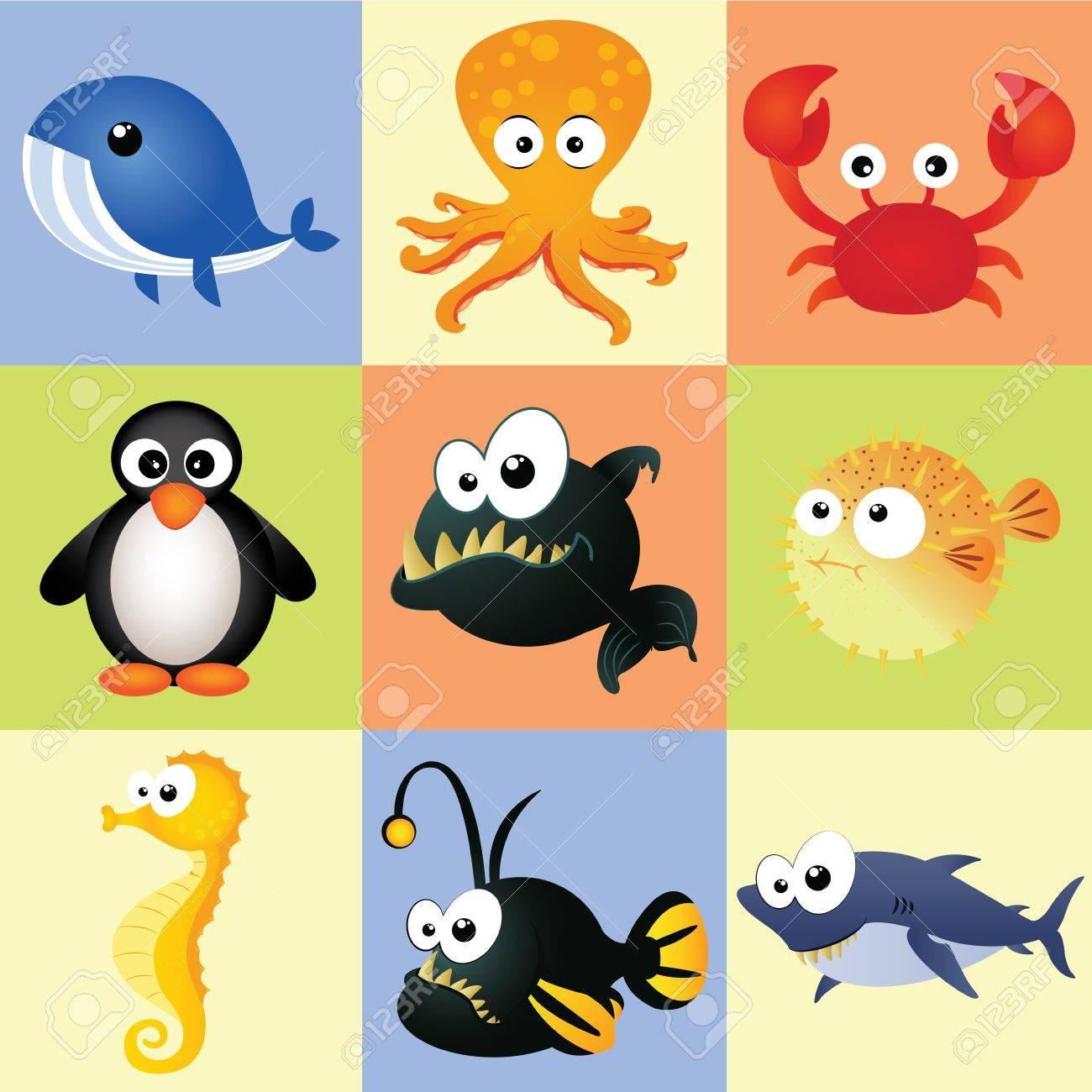 Diferentes Animales Acuaticos En Plazas De Diferentes Colores