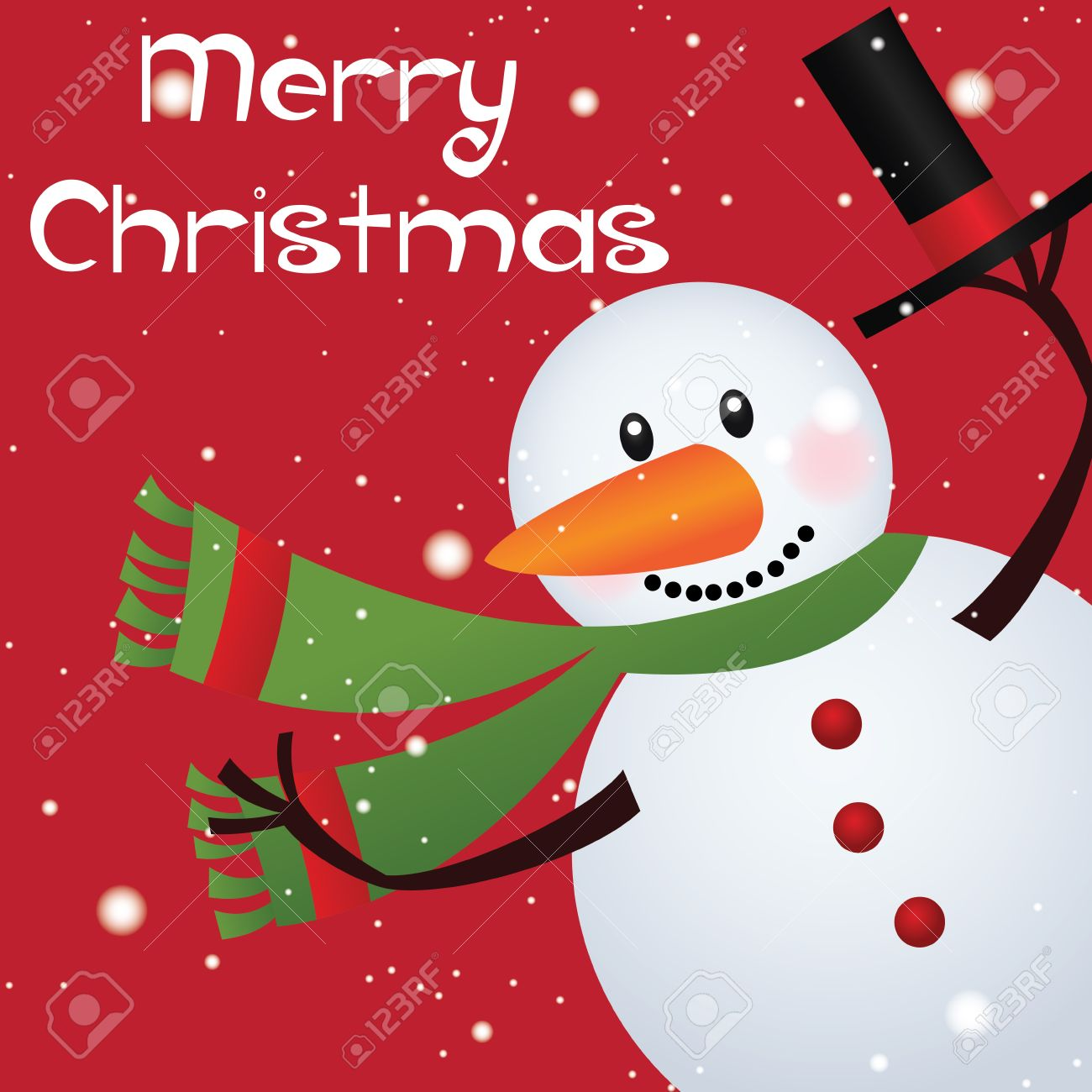Merry christmas text and cute snowman on red background Stock Vector - 21910749