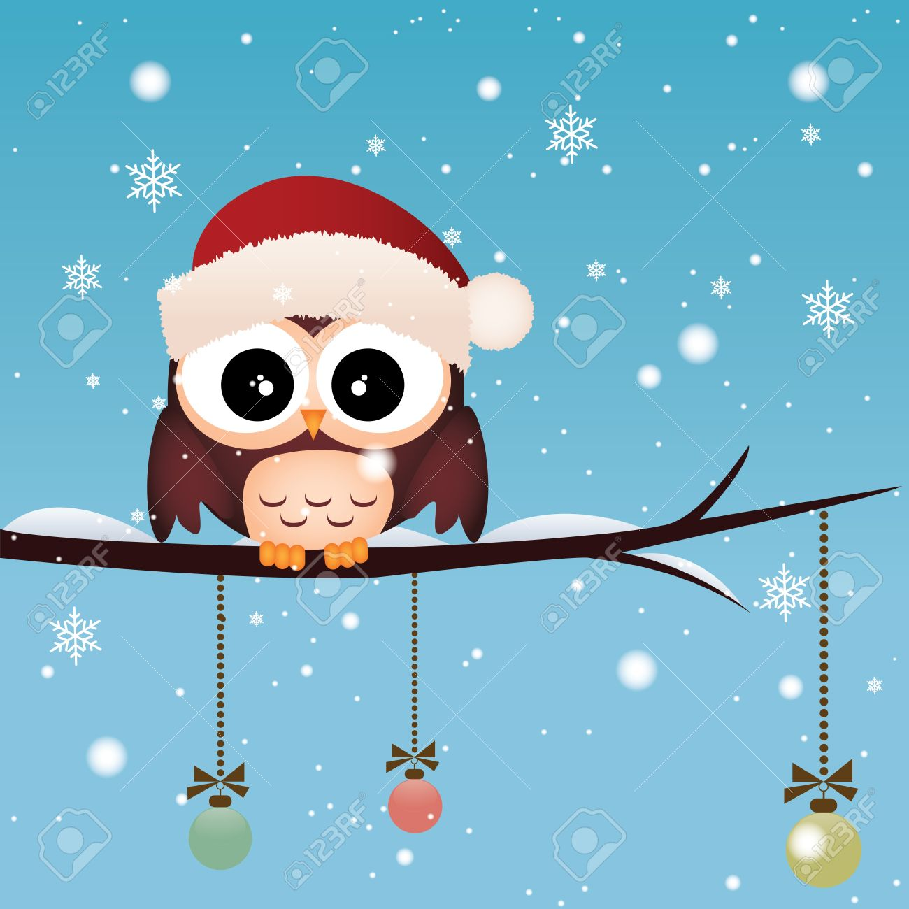 Cute Owl With A Christmas Cap On Special Winter Sky Background Stock Vector