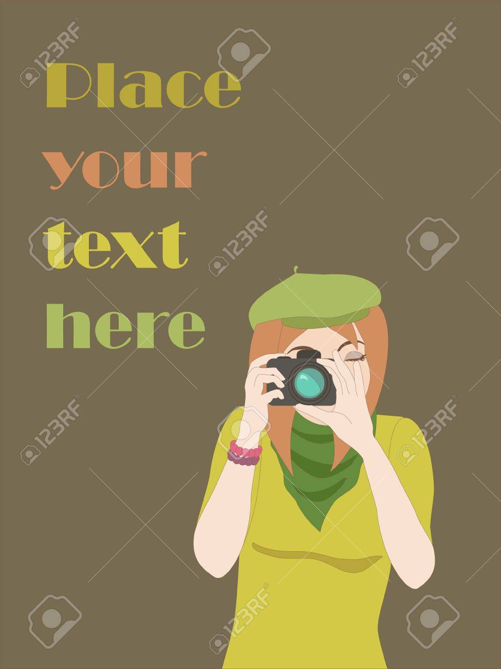 Card with photographer girl and place for text  Objects grouped and named in English  No mesh, gradient, transparency used Stock Vector - 15564003