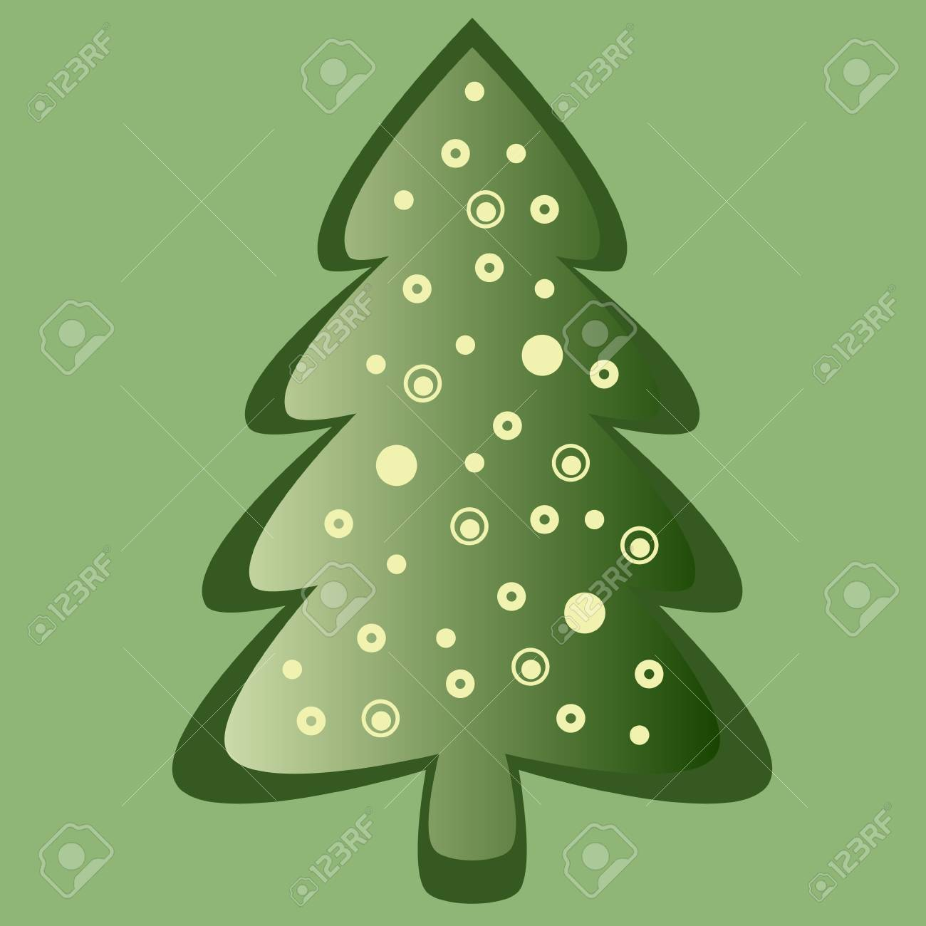 Green christmas card with decorated pine Stock Vector - 15703025