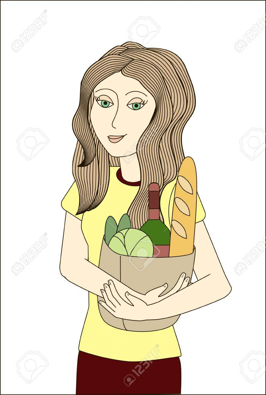 Blonde woman holding paper bag with foodstuffs  No mesh, gradient, transparency used  Objects grouped and named in English Stock Vector - 15800970