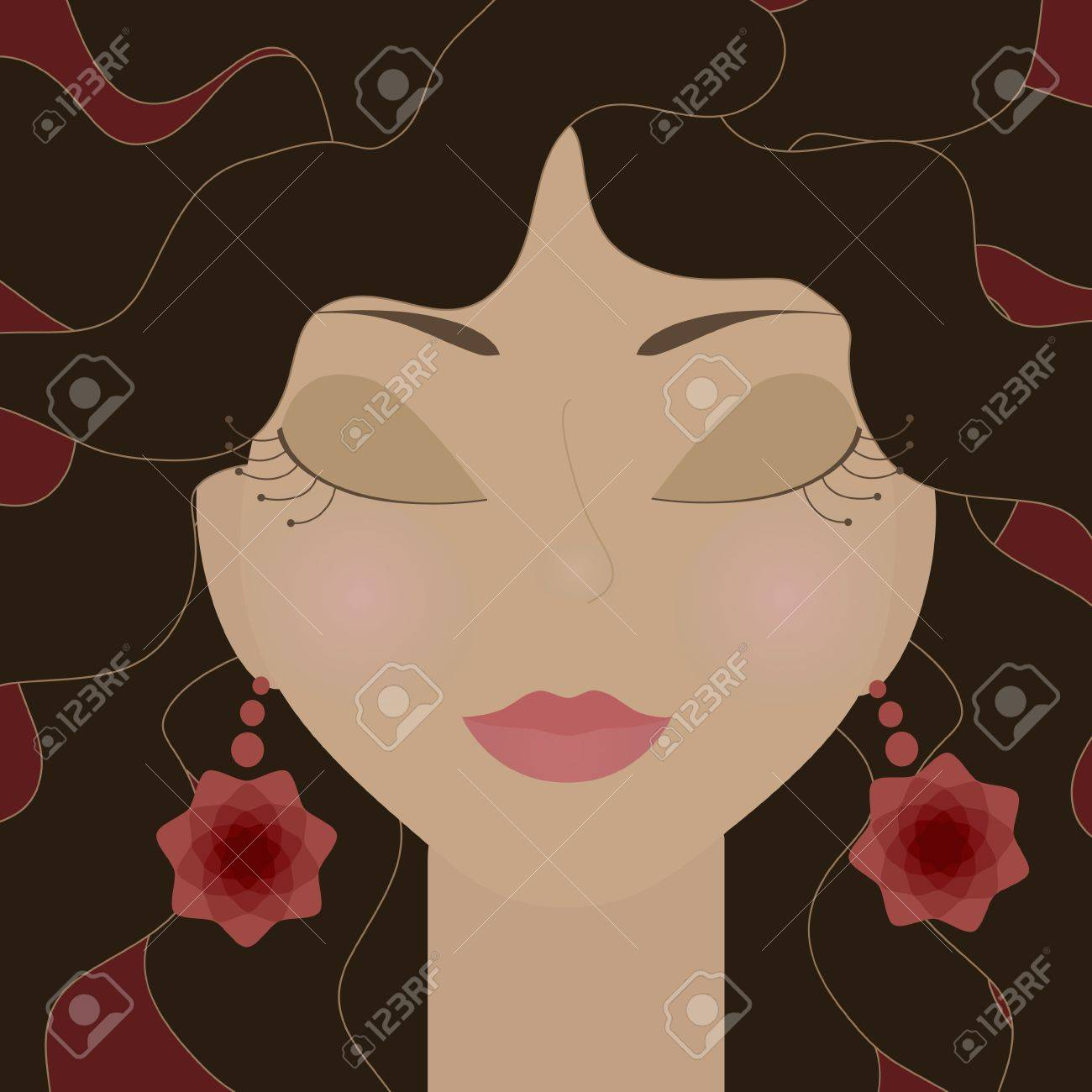 Gypsy girl with closed eyes and red flowers earrings Stock Vector - 15828097