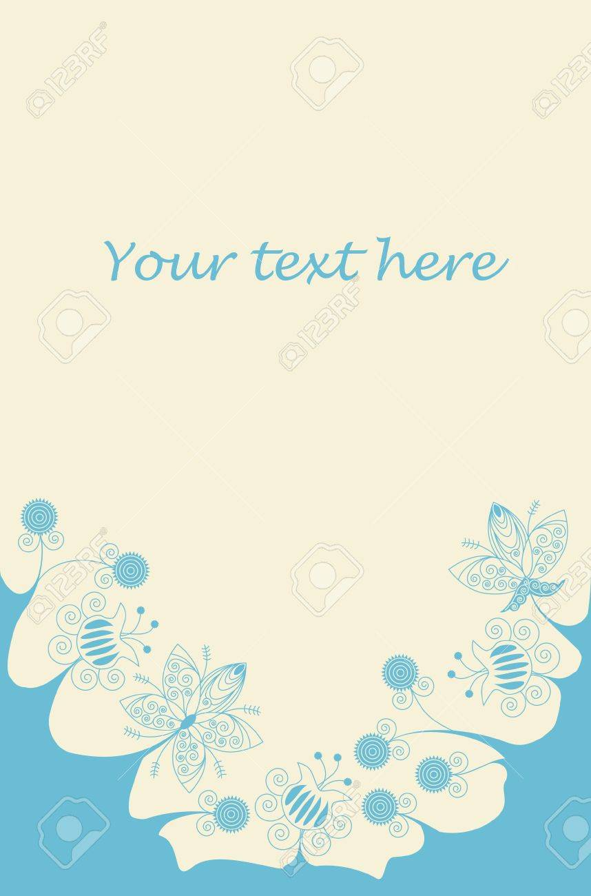 Blue flowers bottom frame on light yellow background with place for text Stock Vector - 16063923