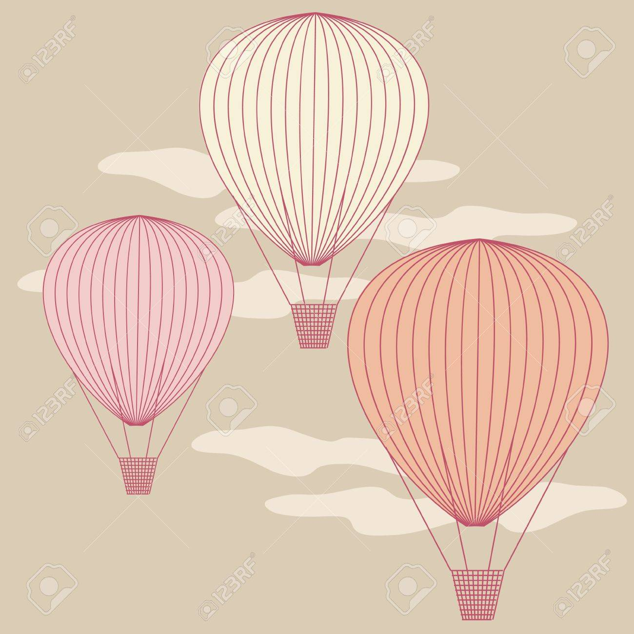 Three balloons flying in the sky painted with vintage colors  No mesh, gradient, transparency used  Objects grouped and named in English Stock Vector - 16226853