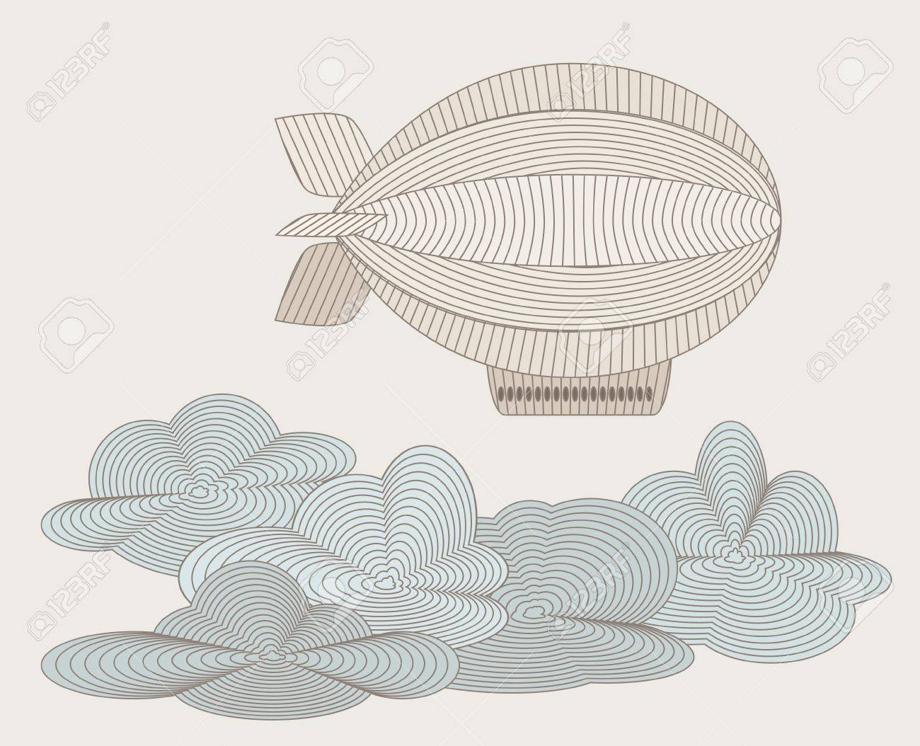 Retro zeppelin drawn with plenty lines Stock Vector - 16433457