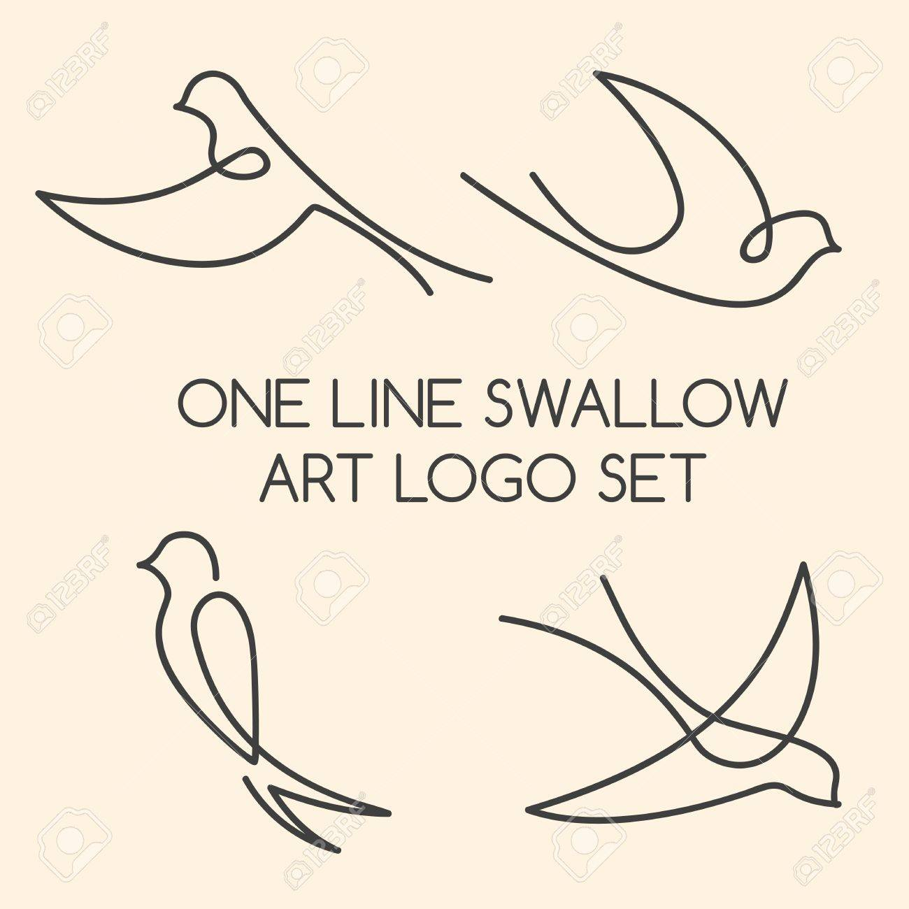 One line swallow art logo set - 51335587
