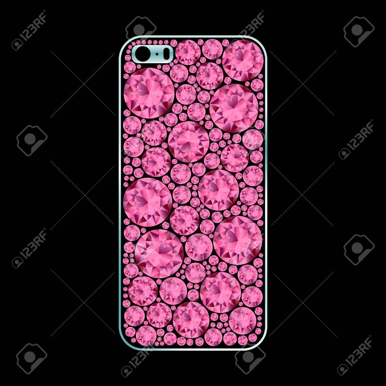 Vettoriale Diamante Coperto Cassa Del Telefono Rosa Su Sfondo Nero