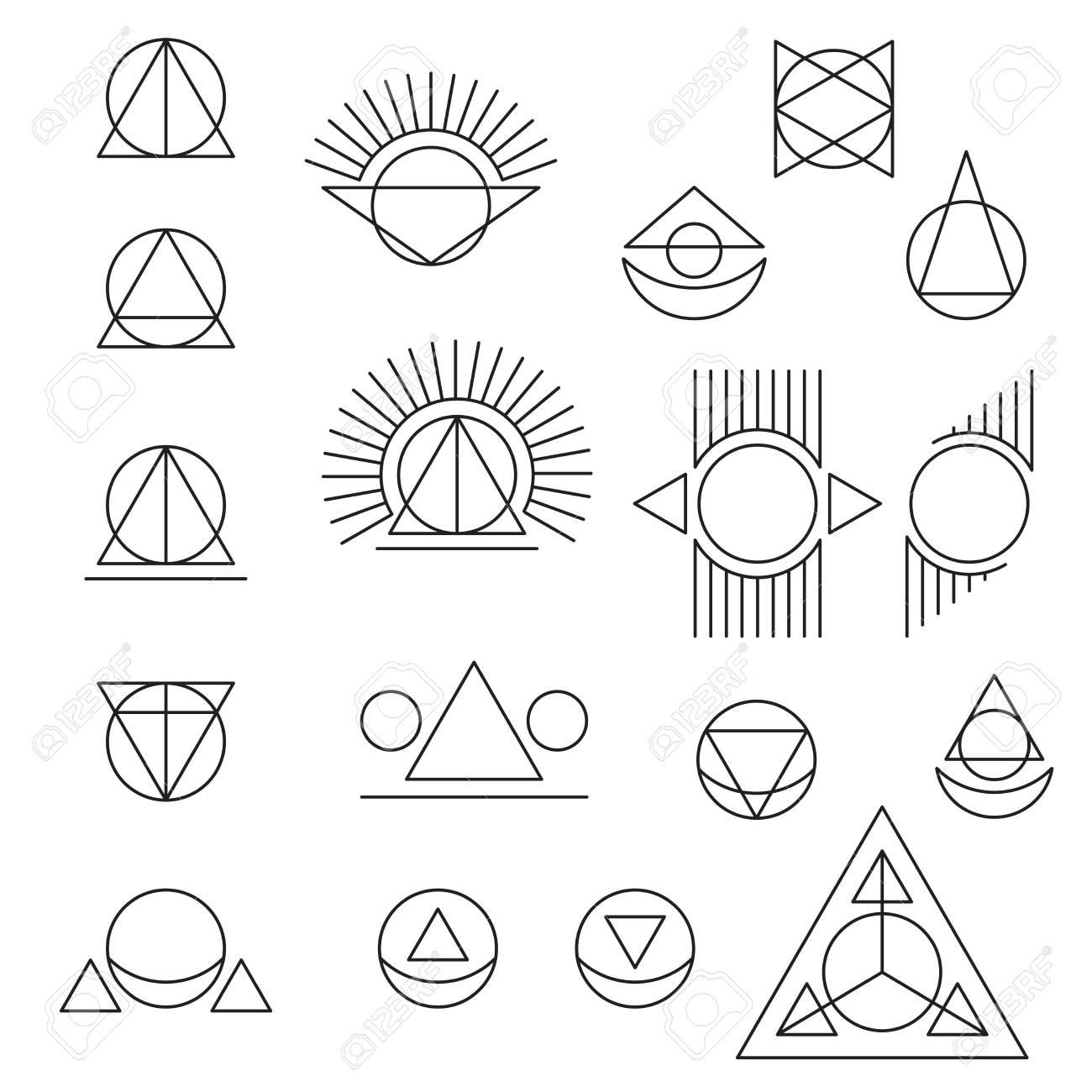 Resume Tatouage Geometrique Sur Fond Blanc Clip Art Libres De
