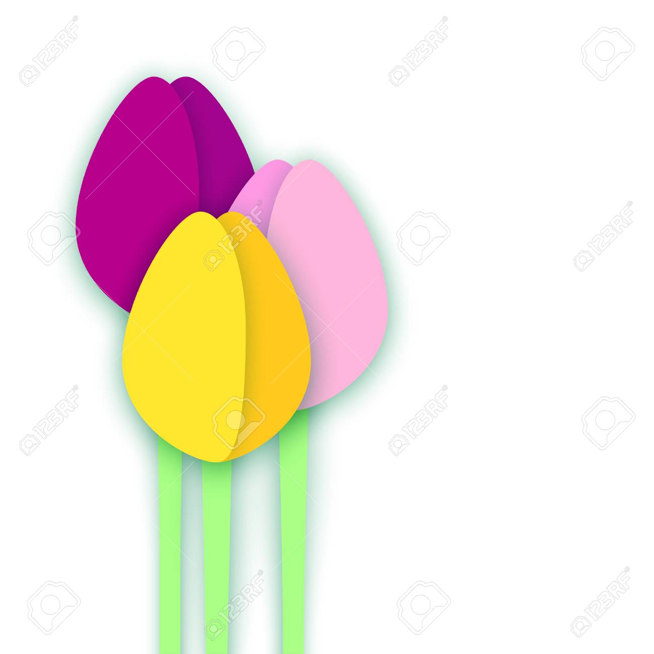 three paper cut tulips on white background collage with shadows