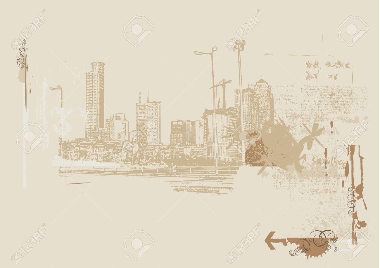 Big City  -  Grunge styled urban background. Stock Photo - 923123