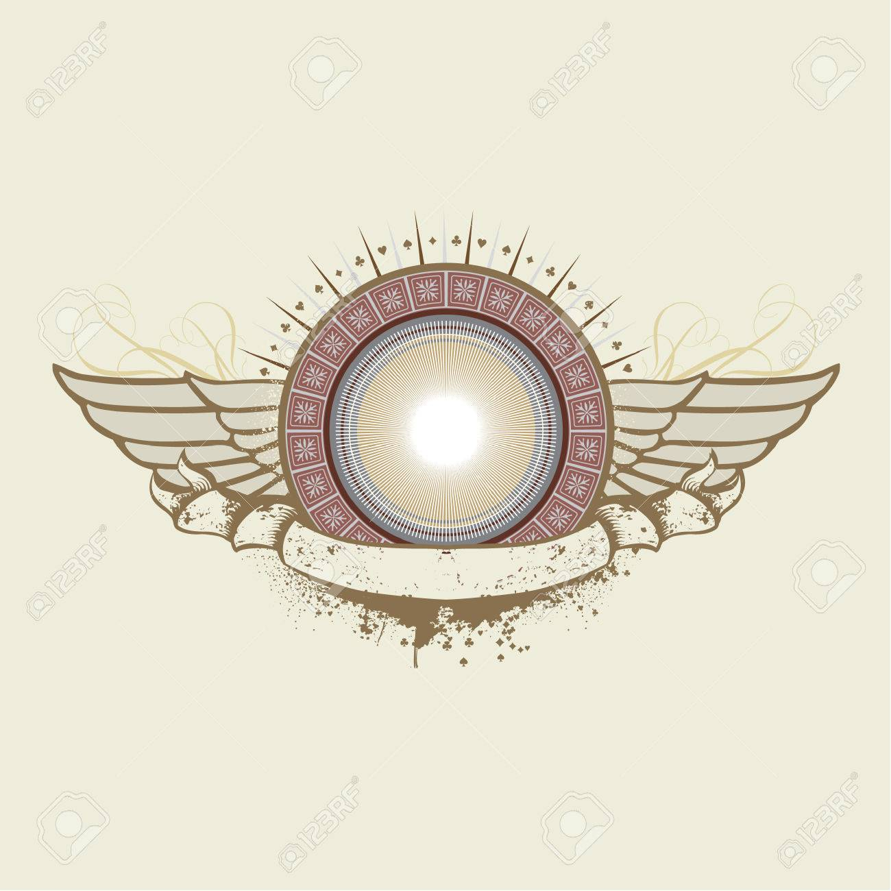 An heraldic shield or badge with wings   ,   blank so you can add your own images. Vector illustration. Stock Vector - 2072503