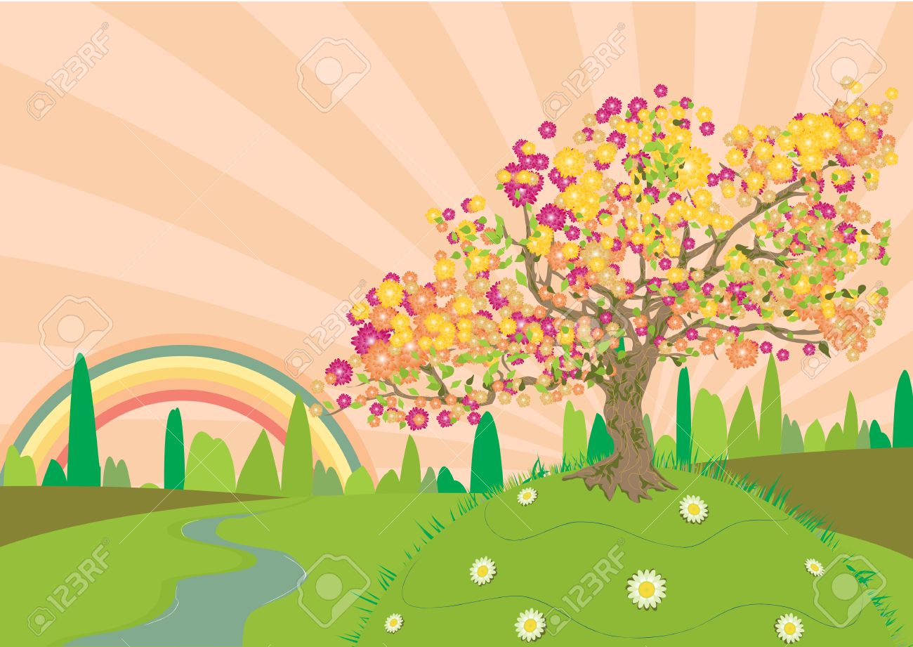 Trail through the countryside in summertime with a rainbow at the end Stock Vector - 3399810