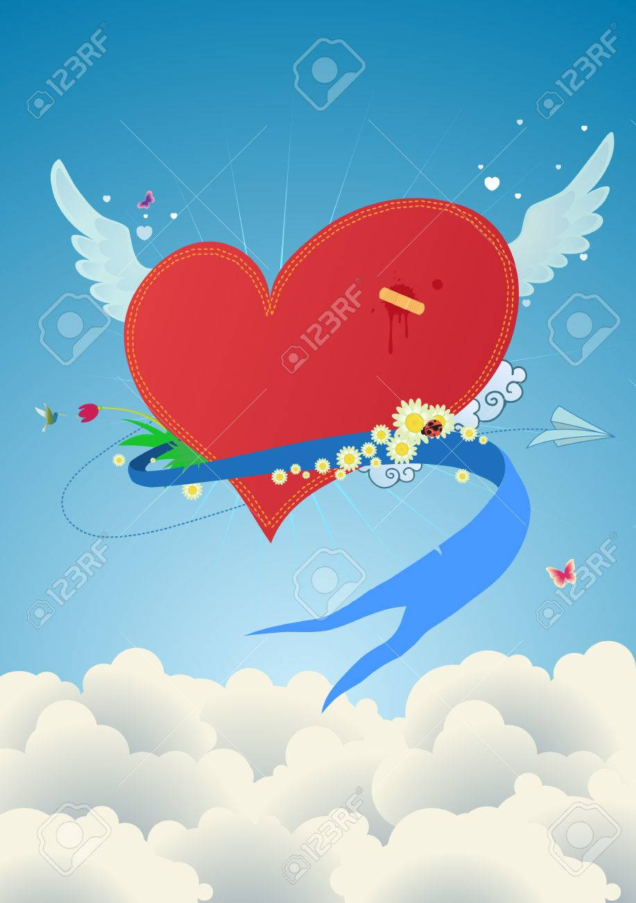 Cool funky red heart flying above the clouds. Great for Valentines Day and  postcards Stock Vector - 3464908