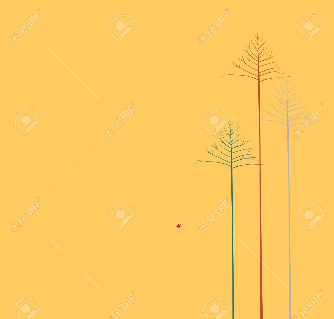 Vector illustration of   three lonely autumn trees on yellow background Stock Vector - 3524507