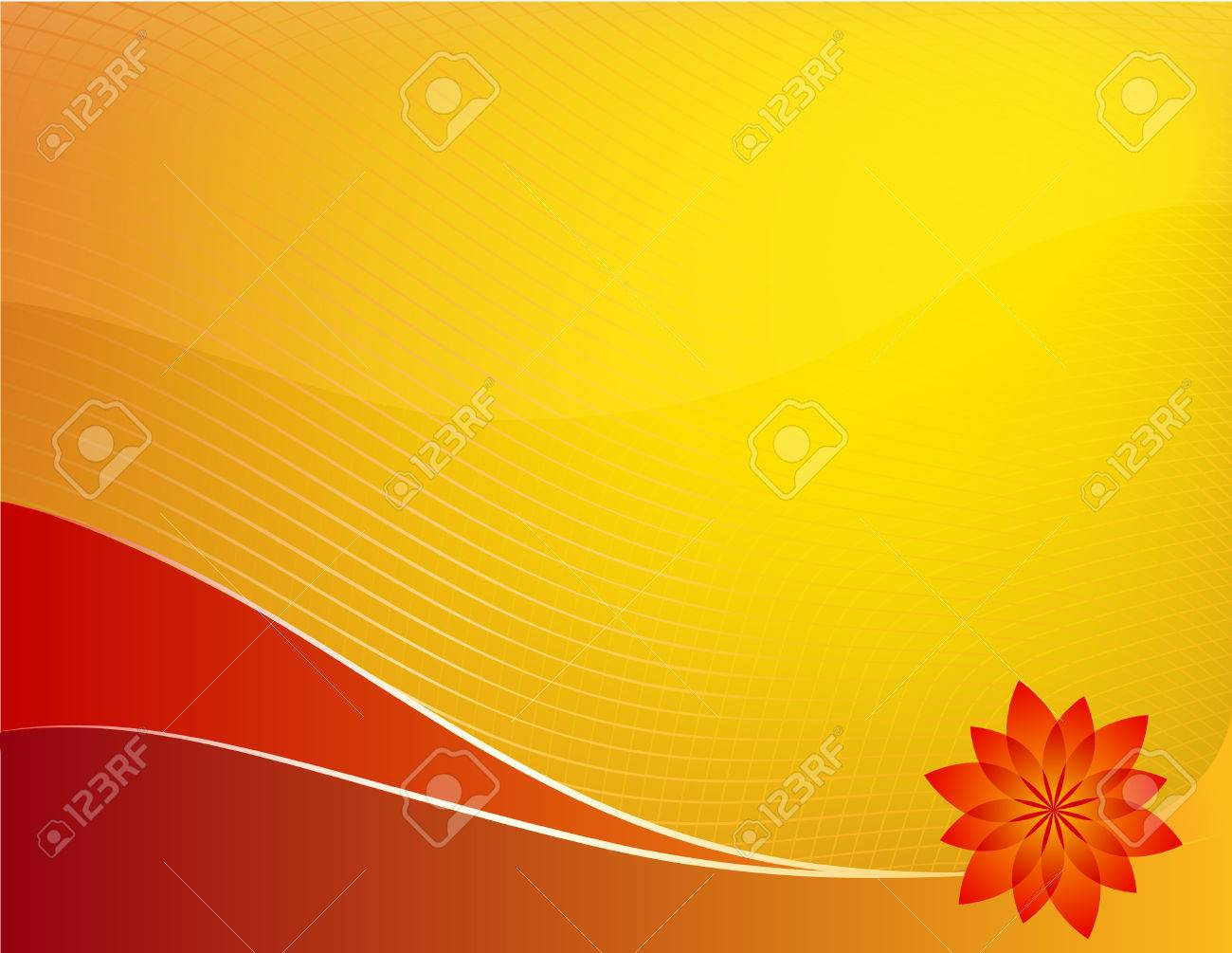 Orange summer background: composition of curved lines and flower - great for backgrounds, or layering over other images or text Stock Vector - 3696181