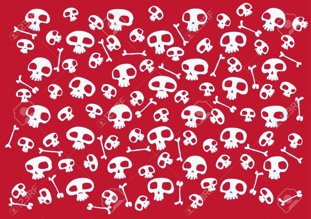 Pattern made of funny skulls and bones on bright red background. Vector illustration Stock Illustration - 3699233