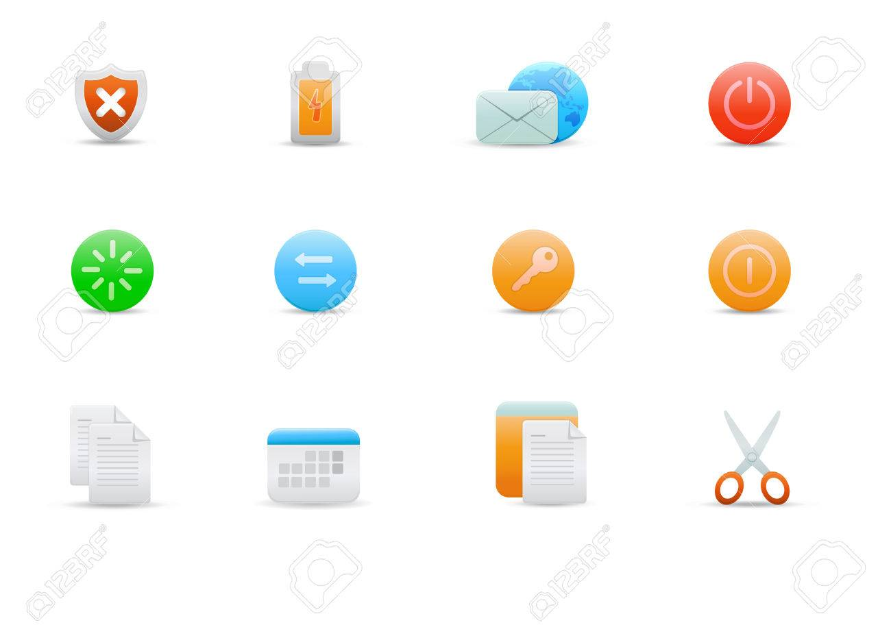 Vector illustration � set of elegant simple icons for common computer functions Stock Vector - 4907021