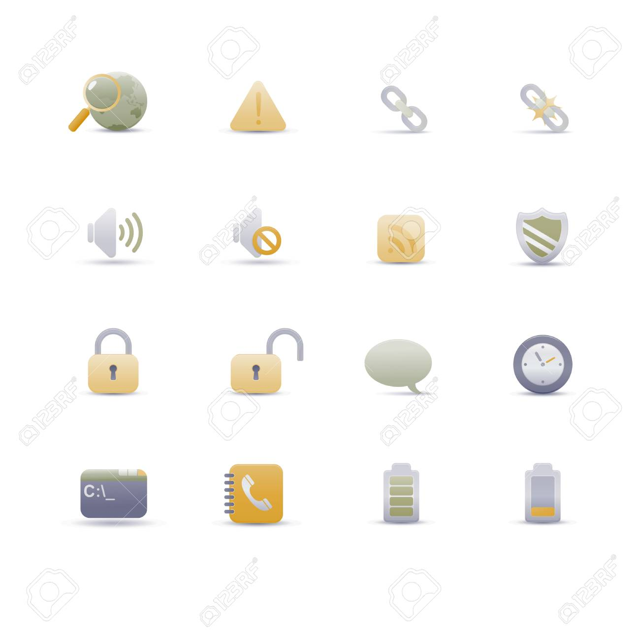 Vector illustration � set of elegant simple icons for common computer functions Stock Vector - 4907026