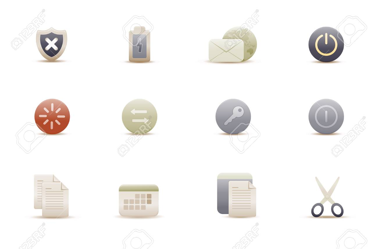 Vector illustration � set of elegant simple icons for common computer functions Stock Vector - 4907019