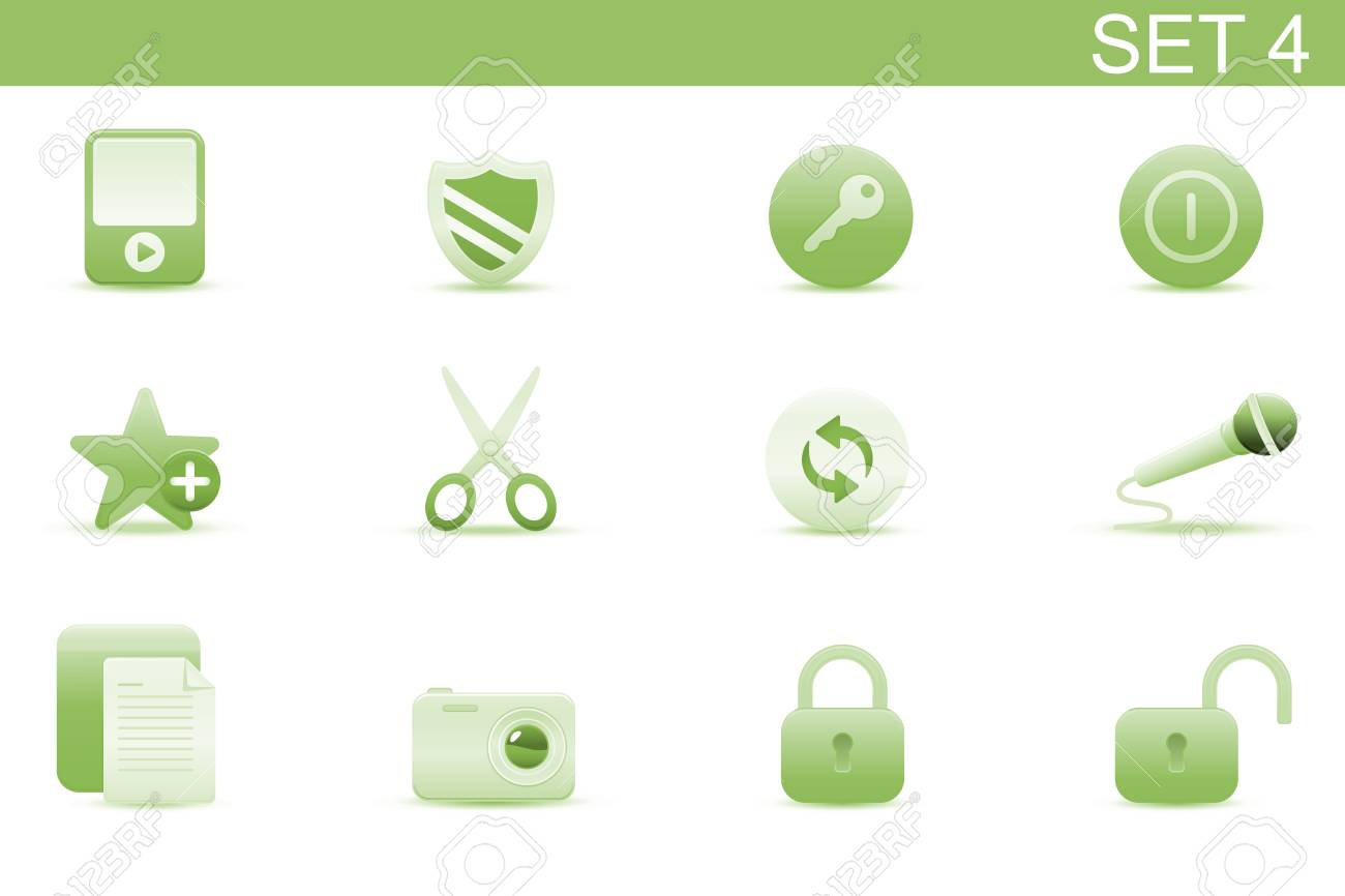 Vector illustration � set of elegant simple icons for common computer functions. Set-4 Stock Vector - 4907043