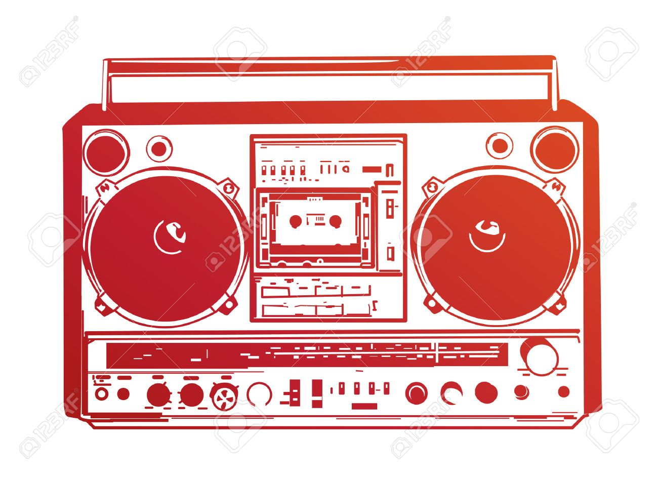 Boombox Pop Art 4907050-Vector-illustration-of