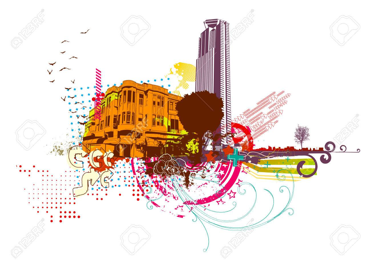 Vector illustration of style urban background Stock Vector - 4989984