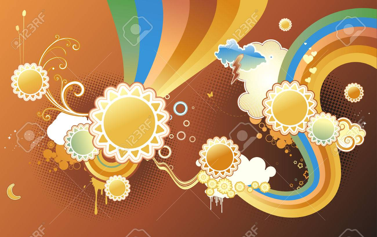 Vector illustration of funky styled design background made of sun shapes, rainbow shapes and floral elements Stock Vector - 5024291