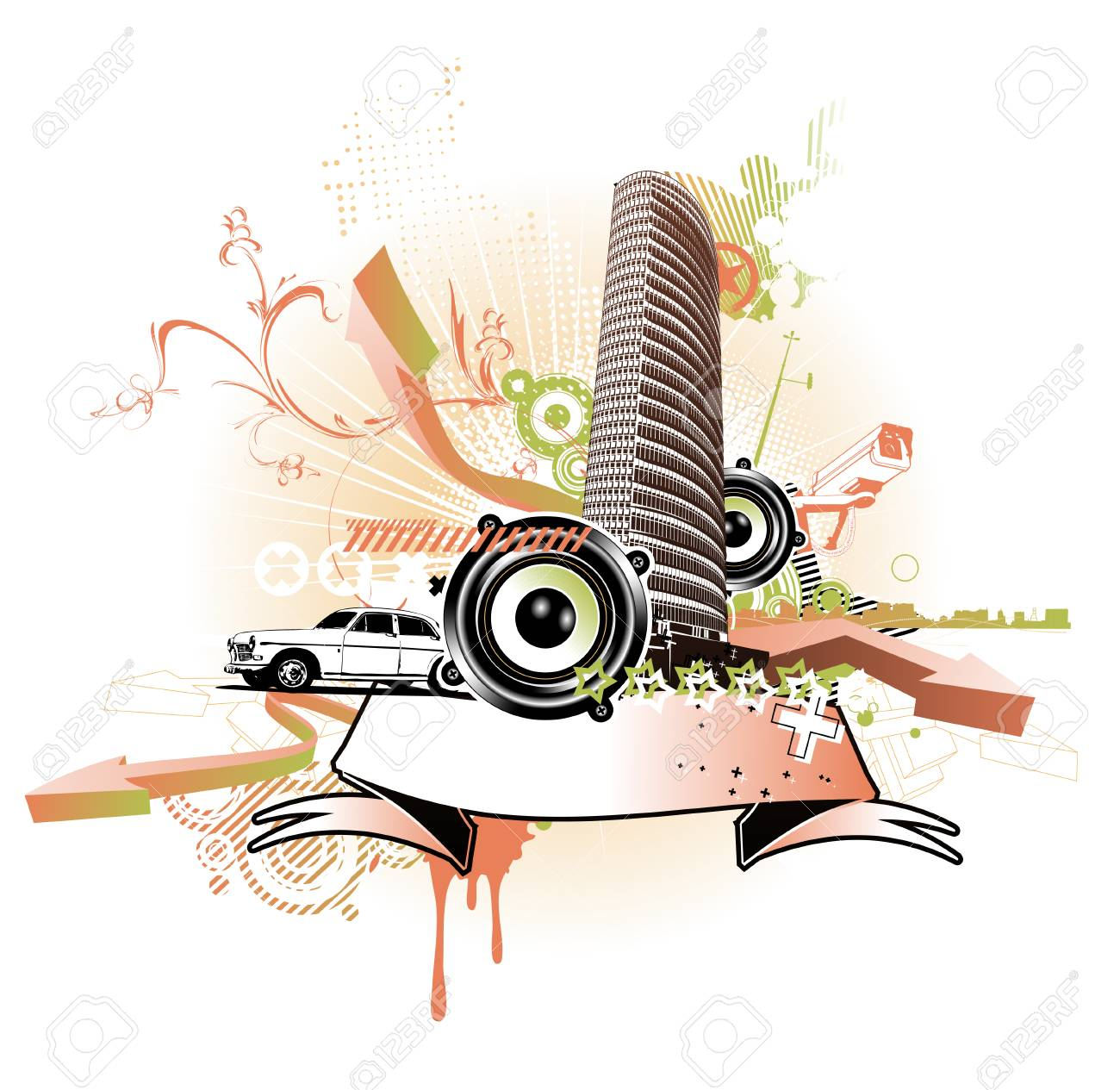 Vector illustration of style urban background Stock Vector - 5063347