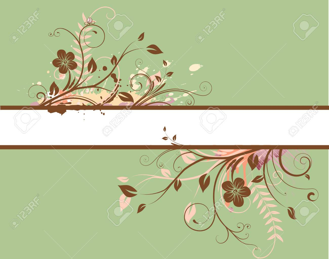 Vector illustration of green Floral Decorative banner Stock Vector - 5063352