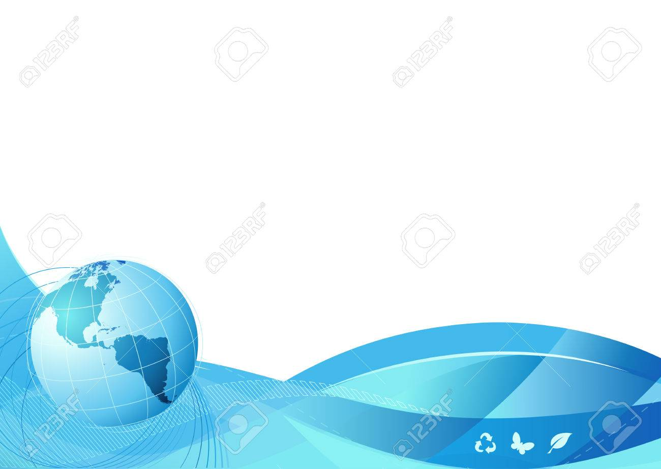 Vector illustration of blue abstract lines background - composition of curved lines and globe Stock Vector - 5087232