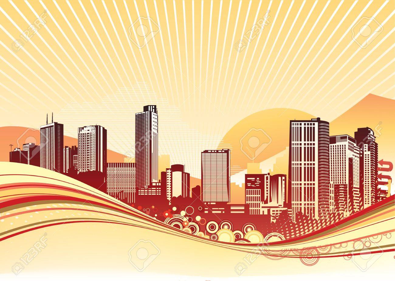 Big City. Orange urban background with abstract composition of dots and curved lines. Stock Photo - 5240793