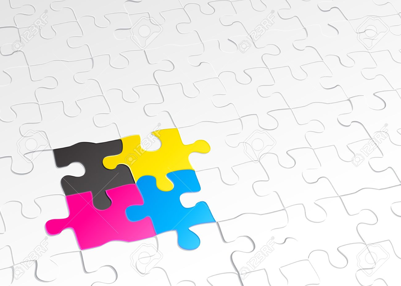 Abstract Background Made Of Jigsaw Puzzle Templates With 4 Pieces In Different Colors Stock Photo