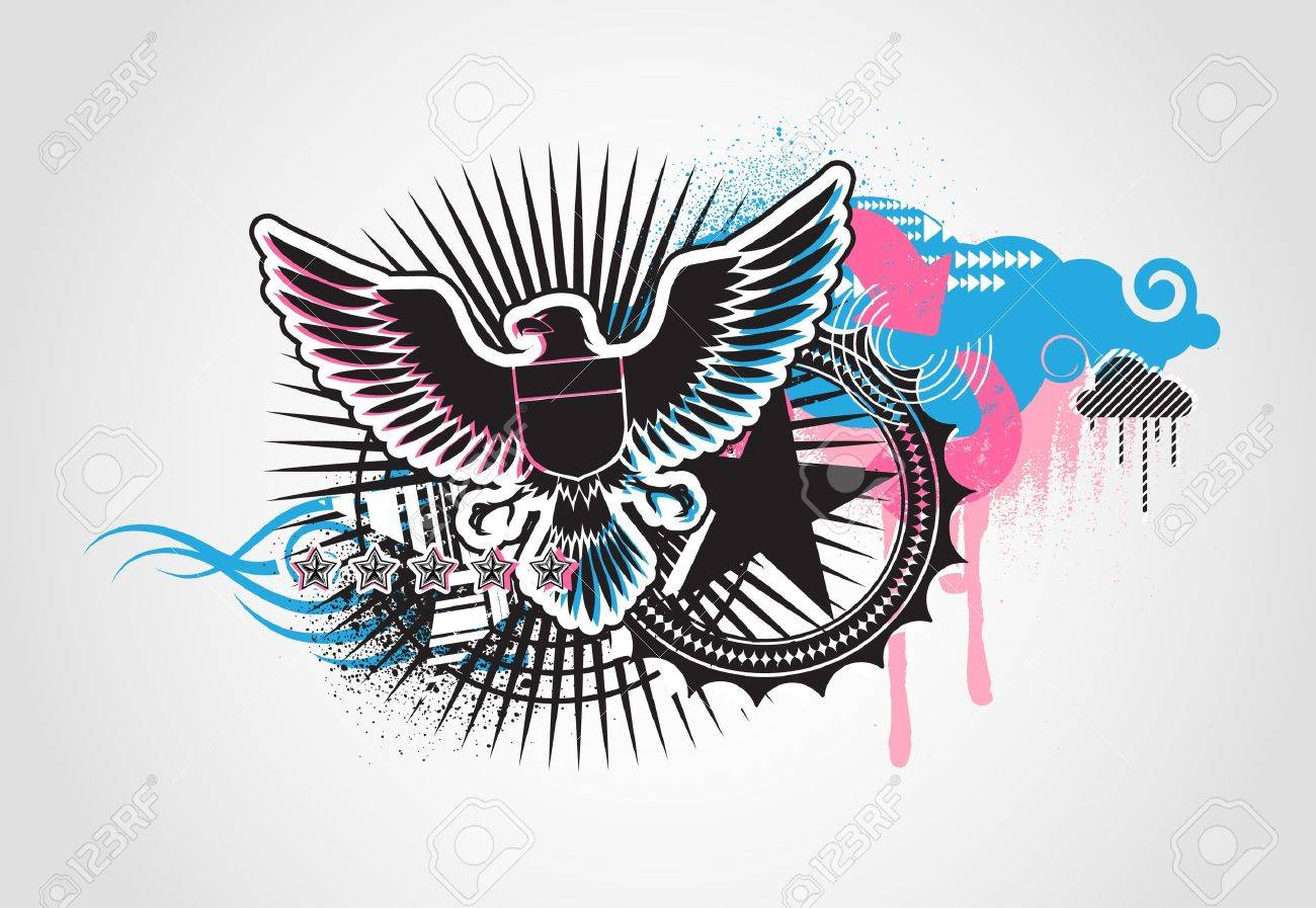 illustration of style Decorative urban background with coat-of-arms  Medieval Eagle Stock Photo - 5611437