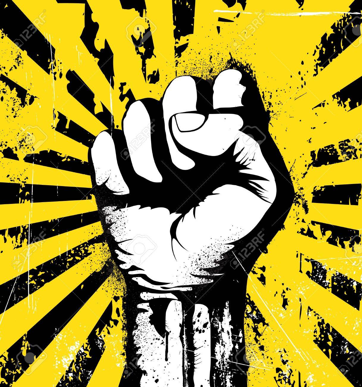 illustration of clenched fist held high in protest on the yellow grunge urban background Stock Illustration - 5611430
