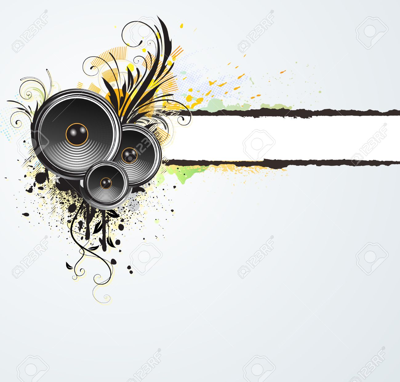 vector illustration of grunge floral abstract banner with music