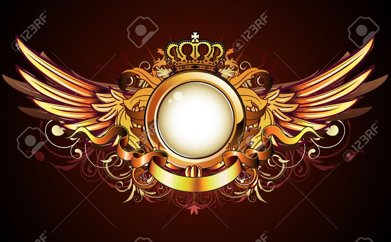 illustration of heraldic golden frame or badge with crown wings