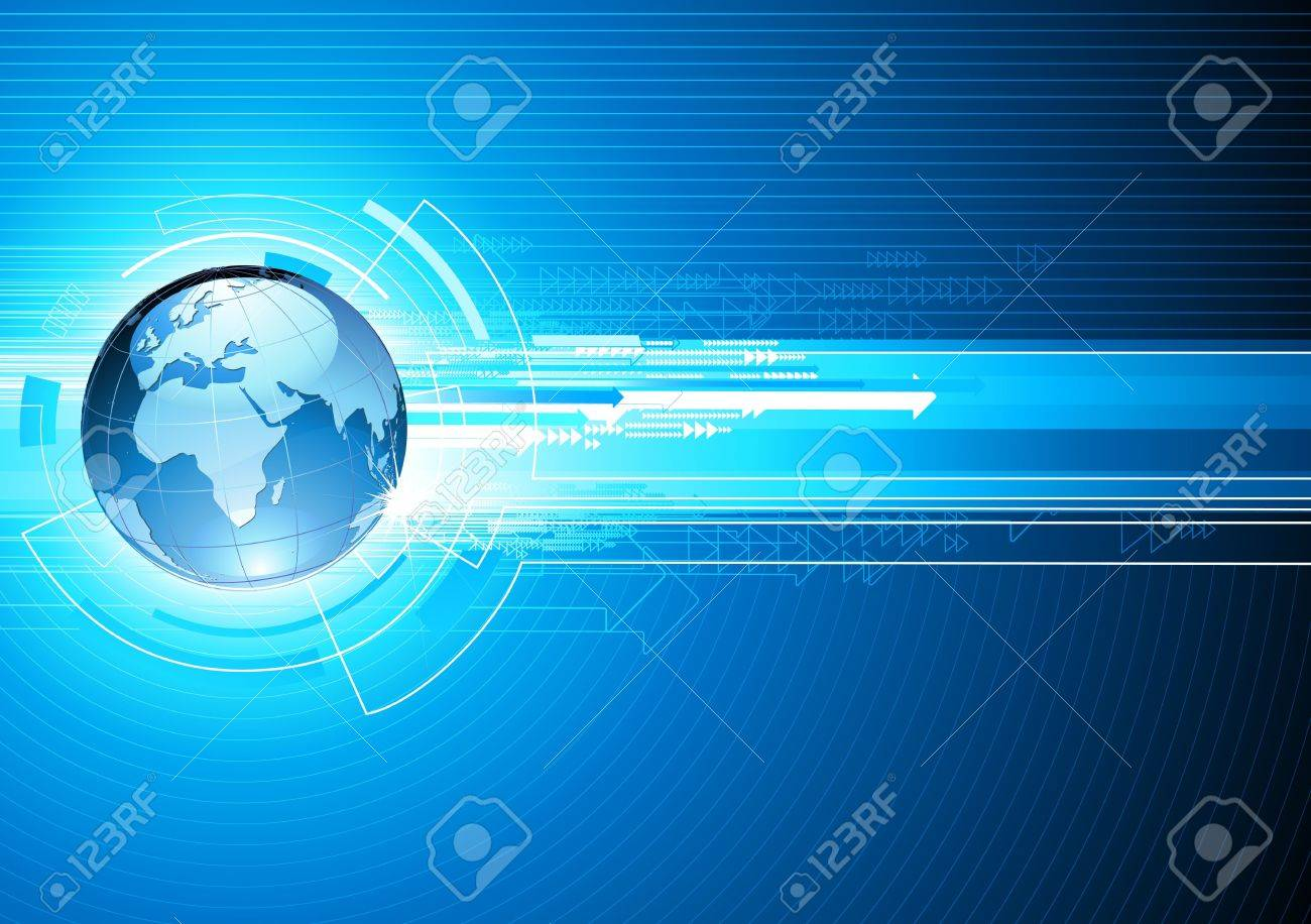 illustration of abstract hi-tech Background with Glossy Earth Globe - 6789679