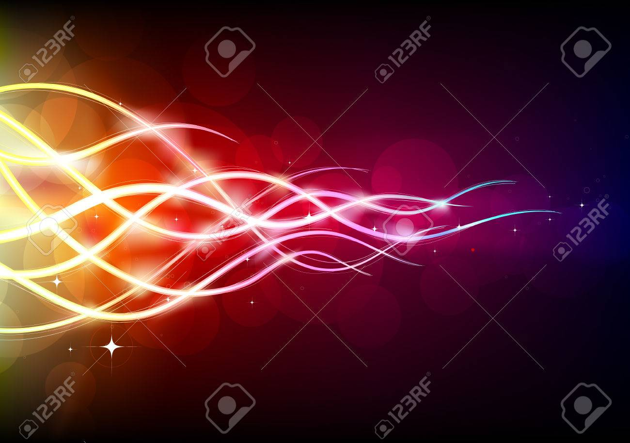 illustration of  futuristic abstract glowing background resembling motion blurred neon light curves Stock Vector - 6891613