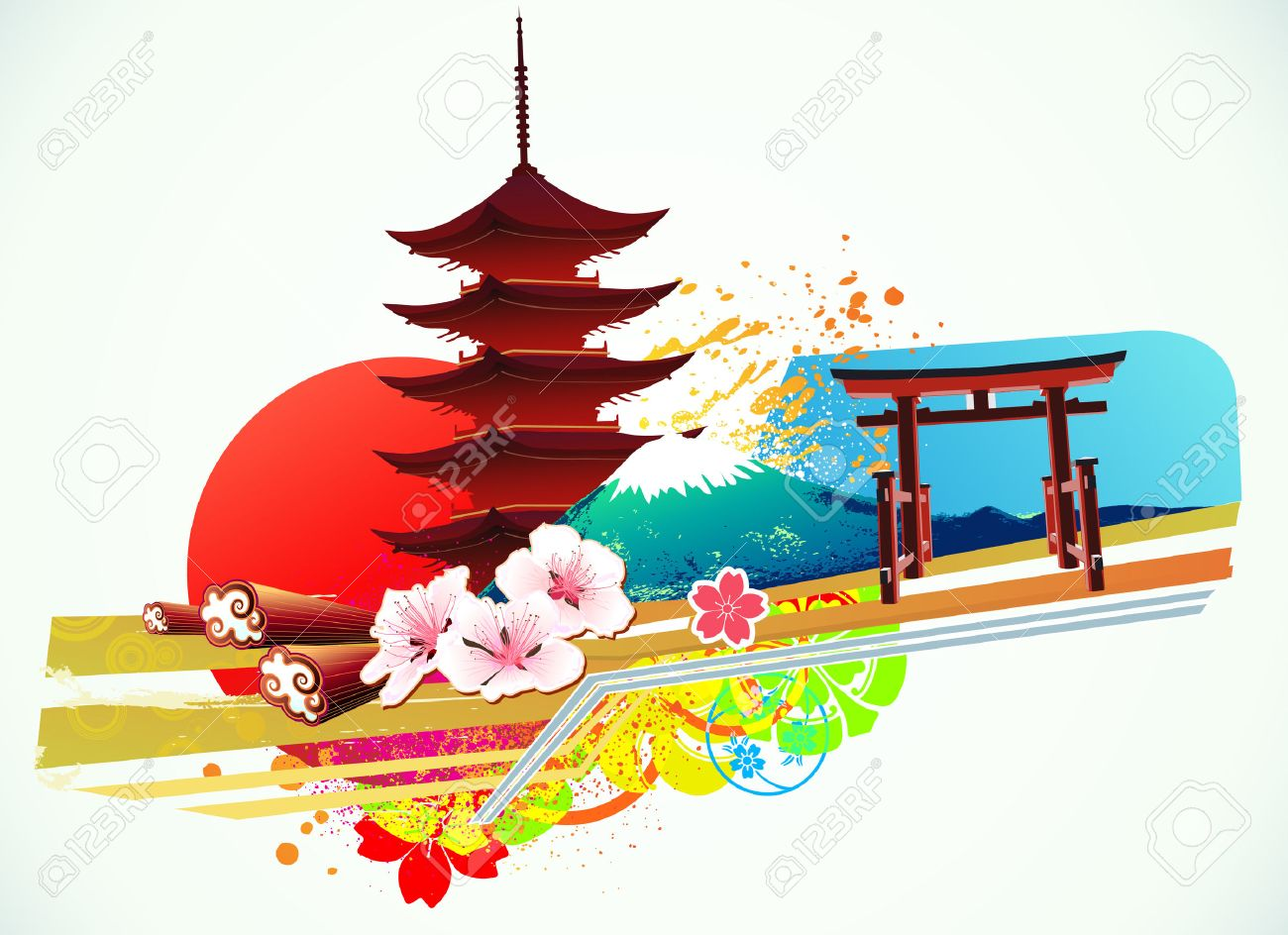 illustration of abstract styled Decorative Traditional Japanese background Stock Vector - 7156772