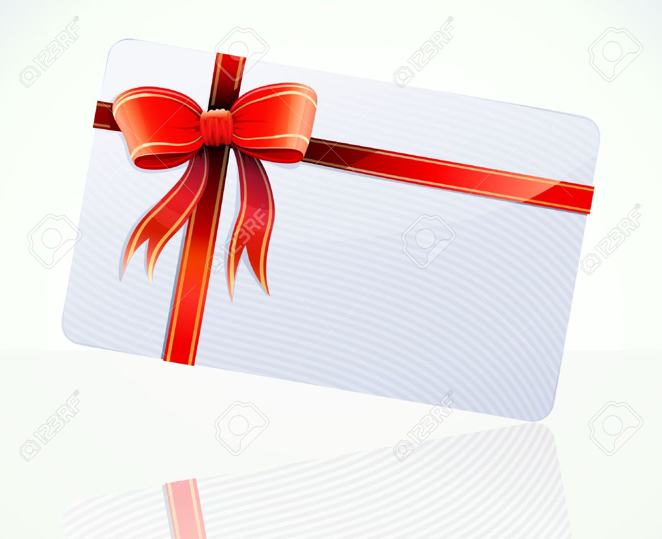Vector illustration of decorated gift card with red ribbons and bow Stock Vector - 8264930
